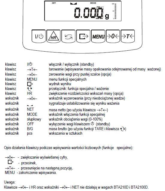 Waga techniczna opis klawiszy