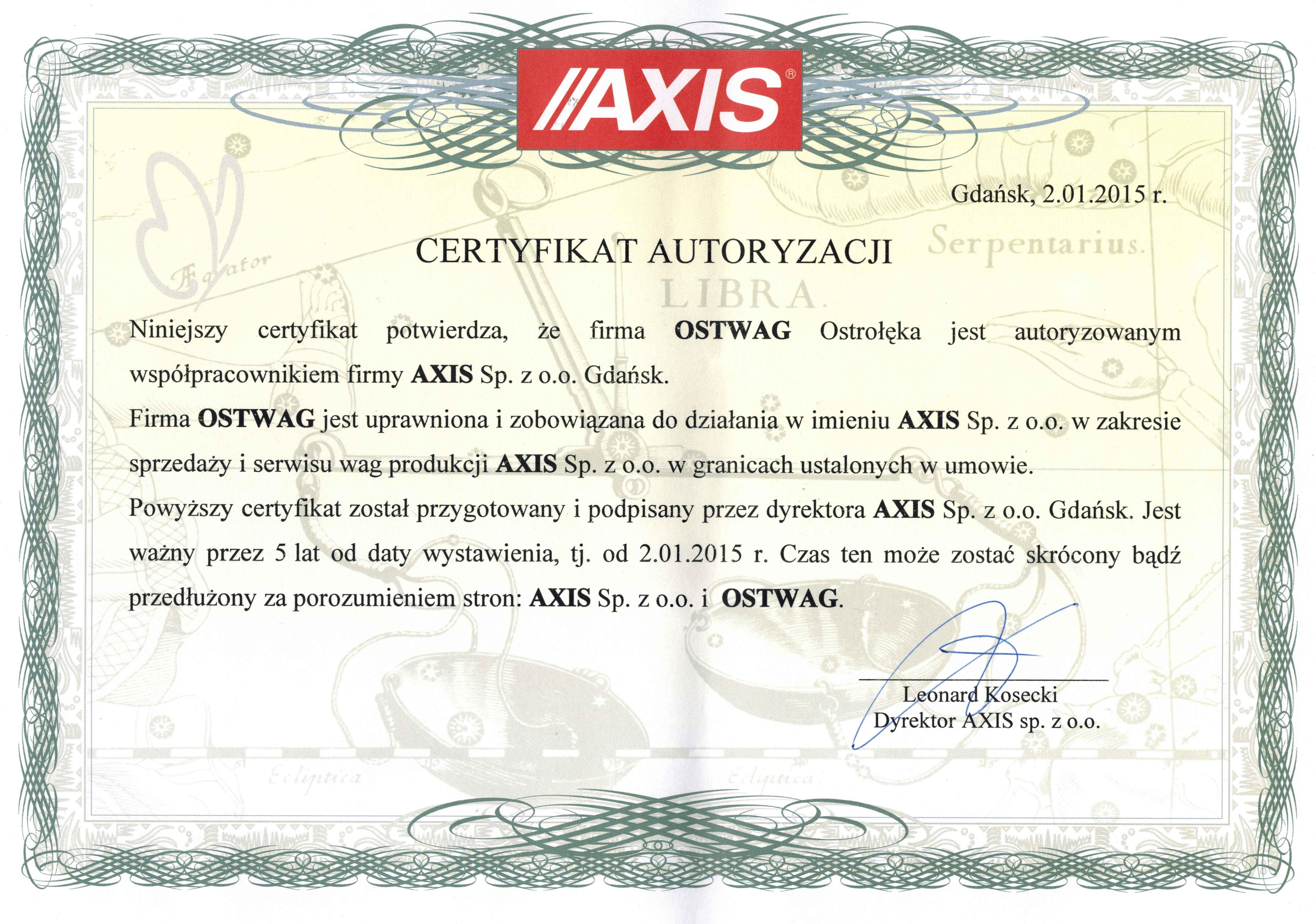 Sewis wag elektronicznych AXIS